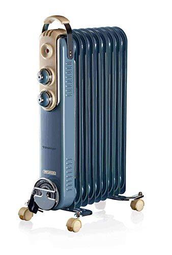 Ariete 838, Radiatore a olio Vintage, 9 elementi riscaldanti, 3 livelli di potenza, Maniglia per facile trasporto, max 2000 Watt, Celeste