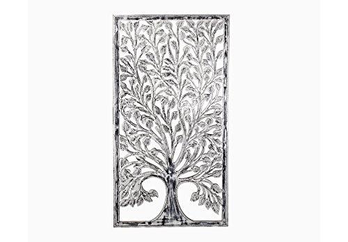 Faisan Home Panel Pared Decorativo Árbol, Madera, Negro y Blanco, 80 x 160 cm