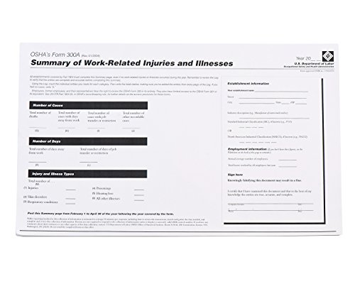 Brady OR300A Forms, OSHA 300A Log
