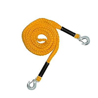 RPS Outdoors SI-2034 Recovery Tow Safety Rope (4,500 lb. Break Strength) with Safety Steel Forged Hooks (14 Ft. x 1.25 In.)