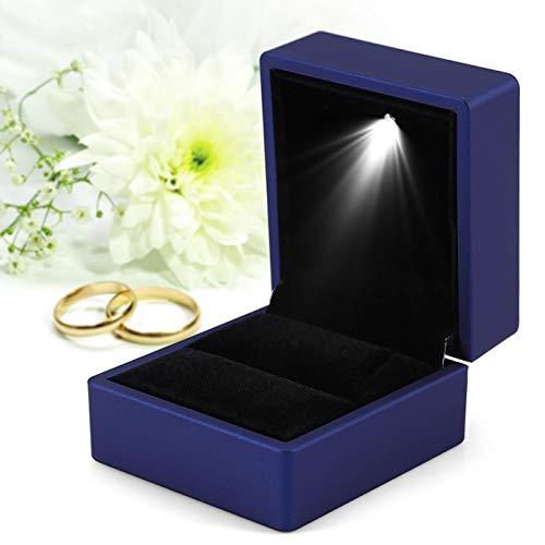 Caja de anillo con LED Caja de regalo con luz LED para compromiso de boda Caja de exhibición de joyería Caja de joyería para anillo Caja de joyería Azul