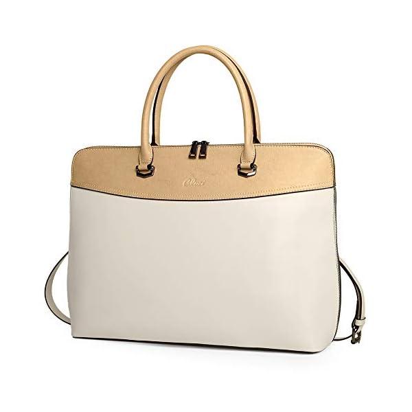 CLUCI Briefcase for Women Oil Wax Leather 15.6 Inch Laptop Business Vintage Slim Ladies Shoulder Bag 1