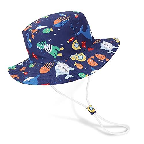 Bebé Niña Niño Sombrero de Sol Verano Algodón Niño Tiburón Ajustable Pescador Gorra Protección de Sol Anti UV para Exteriores/Natación/Playa/Piscina UPF 50+