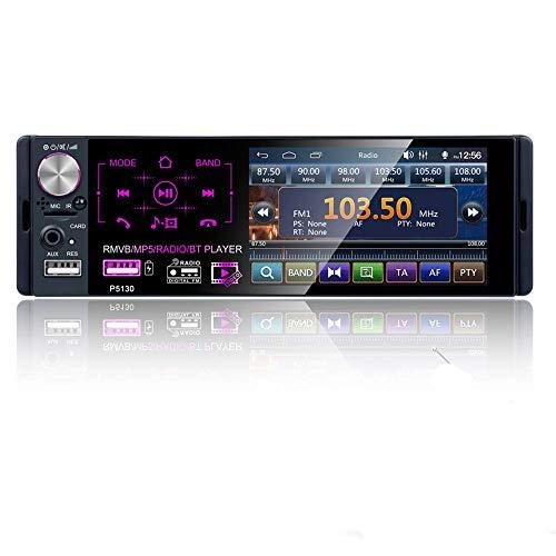 KAUTO Radio para automóvil con Pantalla táctil de 4.1'estéreo de un Solo DIN para automóvil con Bluetooth MP3 / MP5 / USB/Am/FM Radio con Control del Volante, cámara de visión Trasera -