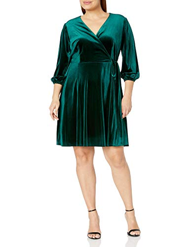 Tahari ASL Women's Velvet Wrap Dress Cocktail, Hunter Green, 10