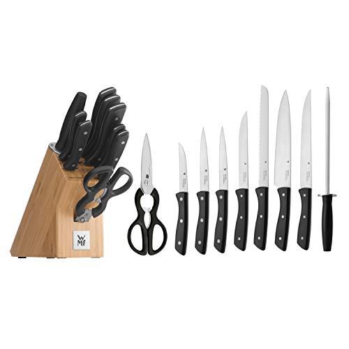 WMF messenblok met messenset, 10-delig, 7 messen gesmeed, 1 schaar, 1 aanzetstaal, 1 blok van bamboe, speciaal gehard staal, roestvrij stalen klinknagels
