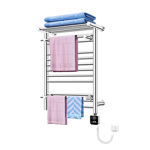 MTX-Racks Handdoekwarmer, elektrische handdoekdroger, 250 W Low Power radiator voor de badkamer, chroom wasdroger met thermostaat en timer, antraciet waterdicht, 680 x 490 mm modern design
