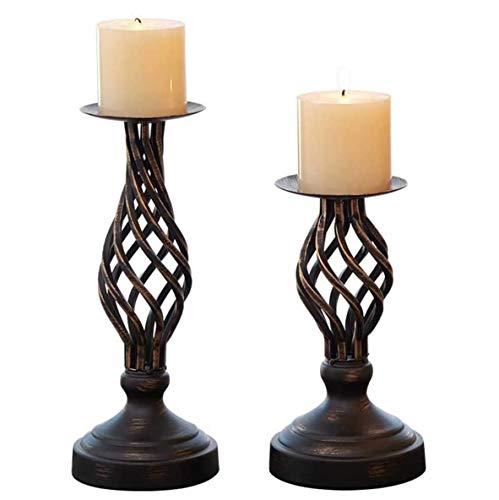 JUNGEN Kerzenständer Bronze 2er Set Kerzenhalter Kerzenleuchter Metall Stabkerze Vintage Kerzen Ständer für Valentinstag Hochzeit Weihnachts Party
