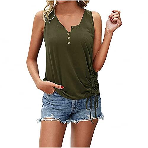 WANGTIANXUE Camiseta de tirantes sin mangas para mujer, para verano, cuello redondo, sin mangas, con cordón, túnica, blusa suelta y blusa para mujer Verde militar XL
