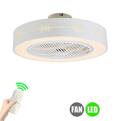 SUZNIU Ventilador de Techo con lámpara Moderno 3 aspas Ocultas ⌀59cm Luces de Techo LED con Control Remoto para Sala de Estar Interior Dormitorio Ventilador de Oficina Lámpara de Techo