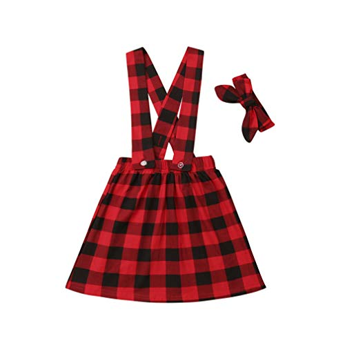 Specialcal Baby Girls Velvet Suspender Skirt Infant Toddler Ruffled Casual Strap Sundress Summer Outfit Clothes (4-5T, Red Plaid)