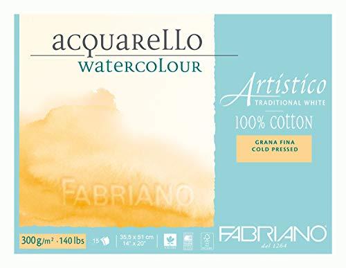Fabriano Artistico Traditional White Cold Press 140 lb., 14 x 20 Inch Watercolor Block, 20 Sheets