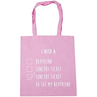 HippoWarehouse i need a boyfriend, concert ticket, a concert ticket to see my boyfriend checklist Tote Shopping Gym Beach Bag 42cm x38cm, 10 litres:Anders-als-andere