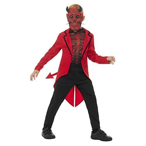 SMIFFYS Costume deluxe diavolo Giorno dei morti da ragazzo, rosso, con maschera in EVA,