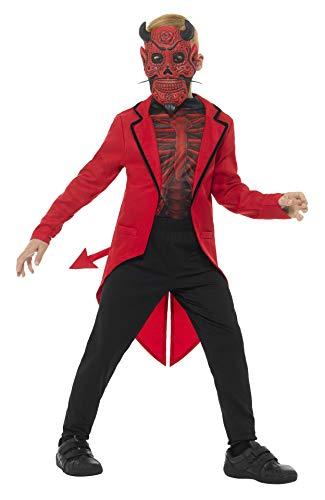 Smiffys Kinder Jungen Deluxe Tag der Toten Teufel Kostüm, Maske, Jacke und Oberteil, Alter: 4-6 Jahre, 45122