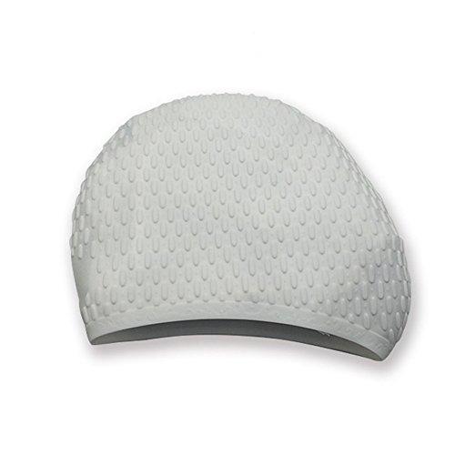 GHANB Elastomeric Silicone Swim Cap-Comfortable Bubble Cap Waterproof Durable Swimming Hat Keep Hair Dry Best for Long Hair Short Hair Adult Men and Women,White