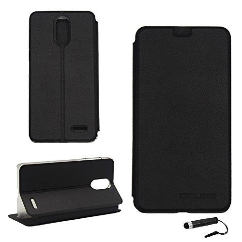 Tasche für Leagoo M5 Plus Hülle, Ycloud PU Ledertasche Metal Smartphone Flip Cover Case Handyhülle mit Stand Function Schwarz