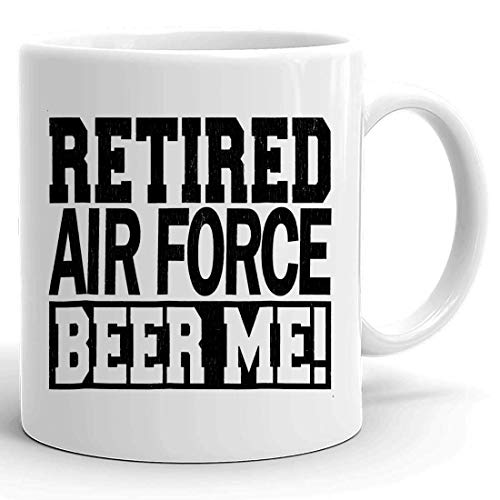 N\A Taza jubilada de la Taza - ¡Cerveza JUBILADA DE LA Fuerza AÉREA YO! Divertida Camisa de Regalo de Fiesta de jubilación de la Fuerza Aérea Tazas Tazas para Abuelo Abuelo