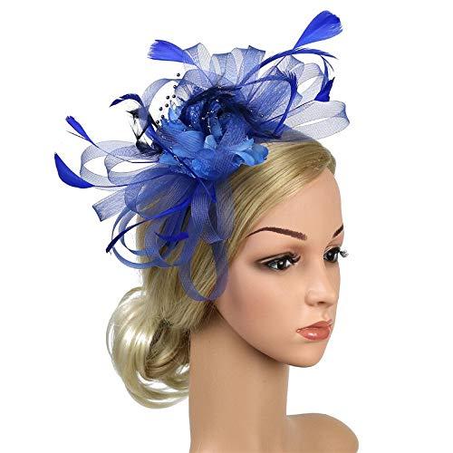 XKMY Horquilla para banquete, tocado para bodas, fiestas de novia, tocado para mujer, clip encantador, joyería para mujer, diadema (color metálico: azul real)