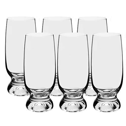 Bohemia Gina - Juego de 6 Copas de Vino (Cristal, 350 ml), Transparente, Biergläser 350 ml