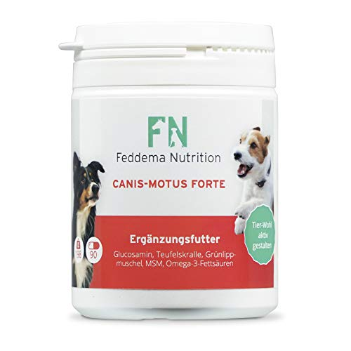 Feddema 1 x 90 Canis Motus Forte - Gelenke und Knorpel 1512mg Glucosaminsulfat/TBL, Teufelskralle, Grünlippmuschel, MSM Hunde-Ergänzungsfutter Gelenke Tabletten I