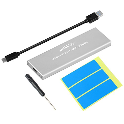 XT-XINTE NVMe PCIE USB3.1 HDD-Gehäuse M.2 zum USB-Typ C 3.1 M SCHLÜSSEL SSD-Festplatte Laufwerk Fall Externe Mobilbox (Silber)