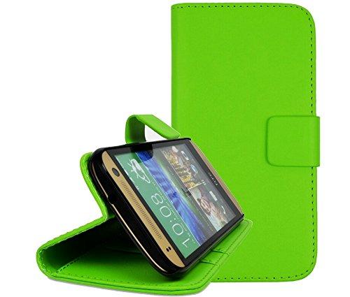 gada - Handyhülle für HTC One mini2 (M8) - Schicke Leder-Imitat Tasche Flipcase Wallet mit Magnetverschluss & Standfunktion - Grün