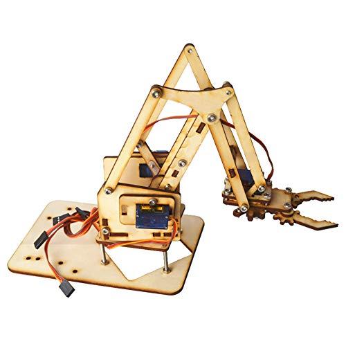 KEENSO Kit de brazo robótico, Raspberry Pi SNAM1500 4 DOF Brazo mecánico robótico de madera sg90 Servo para Arduino DIY Brazo robot