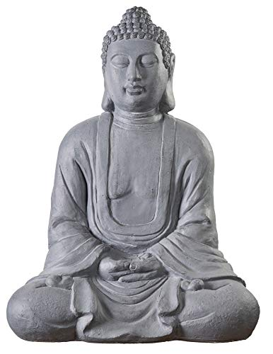 Worldconnection Riesiger XXXL Großer Buddha 80 cm Steinfigur Garten Deko Figur Skulptur Feng Shui sitzend
