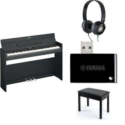 Yamaha Arius YDPS52 Traditional Console Style Digital Piano, Black, with Yamaha Bench, Headphones, and MIDI Adapter