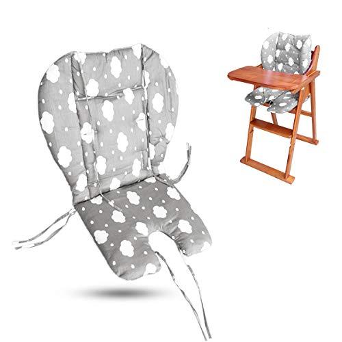 Ywoworld Coussin de chaise haute, grand coussin épais pour chaise haute de bébé, housse de coussin respirante adaptée à tous les types de chaises de salle à manger de bébé (gris tendance)