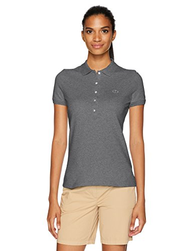 Lacoste Legacy Damen Poloshirt mit kurzen Ärmeln, Slim Fit, Stretch-Piqué - grau -...
