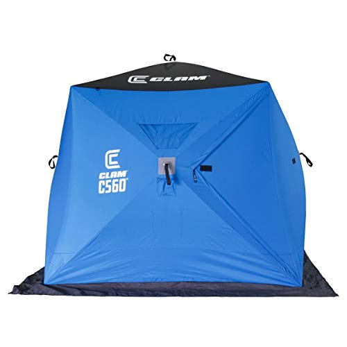 CLAM 14476 C-560 3-4 Person 7.5 Foot Lightweight Portable Pop Up Ice Fishing Angler Hub Shelter Tent with Anchors, Tie Ropes, and Carrying Bag