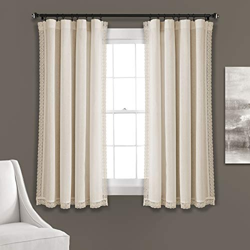 """Lush Decor Ivory Rosalie Window Curtains Farmhouse, Rustic Style Panel Set for Living, Dining Room, Bedroom (Pair), 63"""" x 54, 63' x 54'"""