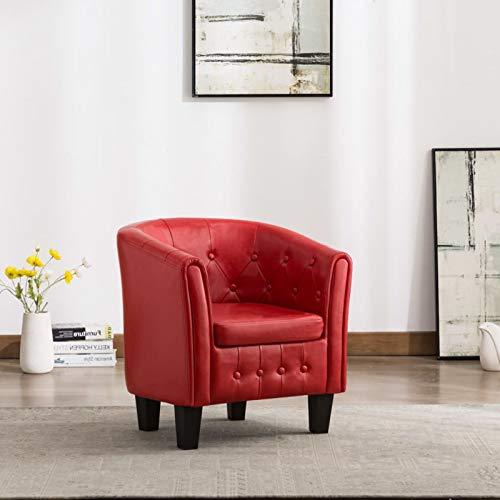 Tidyard Sillón con Diseño de Cubo Sillón Butacas Modernas Sillones Relax Diseño Moderno Cuero Sintético Rojo