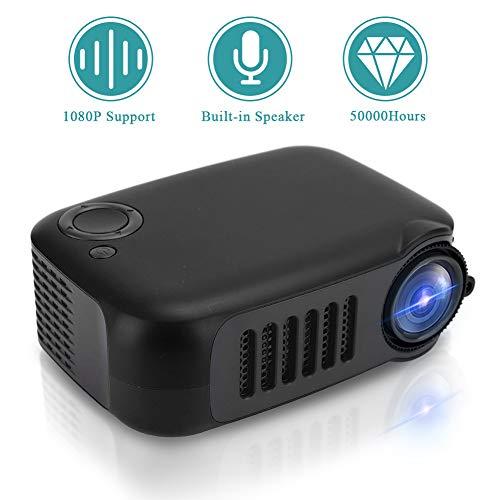 Video Beamer Goedkope, draagbare thuisbioscoopprojector Mini Beamer Ondersteunt 1080P met contrast: 1000: 1, 14-100 inch projectie voor het bekijken van video's, films(EU zwart)