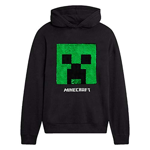 Minecraft Jungen Creeper Hoodie, Kapuzenpullover Kinder, Schwartz Hoodie, Pullover warm mit Pailletten Sweatshirts Für Jungen Mit Langen Ärmeln Und Kapuze mit Creeper-Motiv (7/8 Jahre)