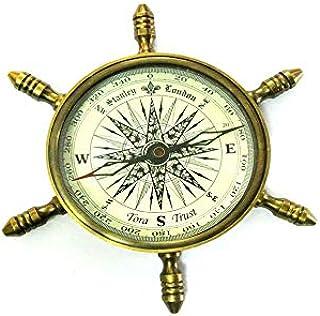 Tora Handicraft Brass Antique Classic Functional Vintage Ship Wheel Compass