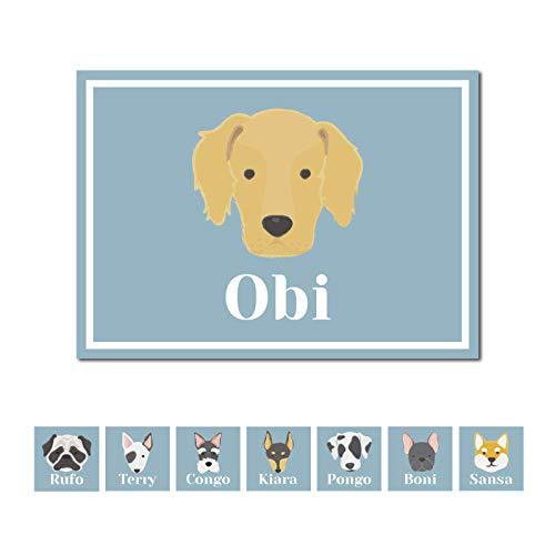 Deco&Fun - Alfombra vinílica para Mascotas A 70x50 Golden - Tapete para Mascotas Personalizado -Alfombra Personalizada Mascota - Tapete para comedero - Tapete para Perros