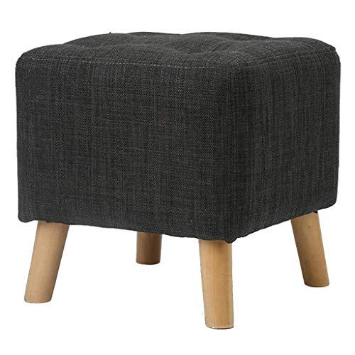 Yxsd Taburete otomano tapizado gris claro, taburete cuadrado de lino, multifunción, creativo, color gris oscuro, tamaño: 29 x 29 x 29 cm)