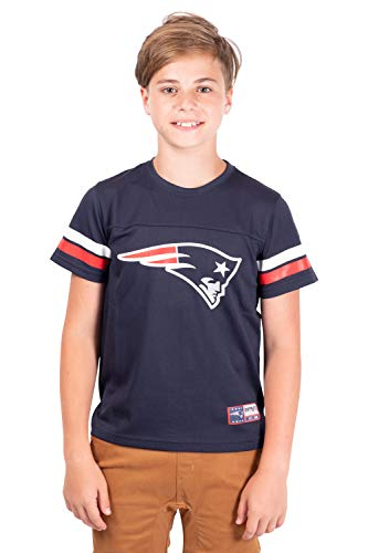 Ultra Game NFL New England Patriots Youth Mesh Vintage Jersey Tee Shirt , Team Color, 18/20