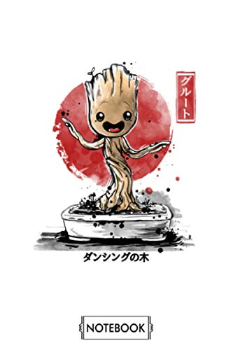 Bonsai Groot Notebook: Journal, Planner, Lined College Ruled Paper, 6x9 120 Pages, Matte Finish Cover, Diary