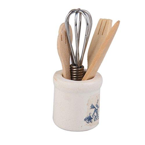 1/12 Puppenhaus Miniatur Geschirr Set Eggbeater Messer Gabel Loeffel