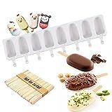 moulle glace silicone,moulle glace silicone patisserie,moule glace 1 moules en silicone à 8 cavités, crème glacée - Forme ovale classique, anti-adhésif, avec 50 bâtonnets en bois