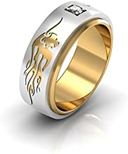 RAGING BULL - 14k White and Yellow Gold Classic Engagement or Wedding Band with Diamond