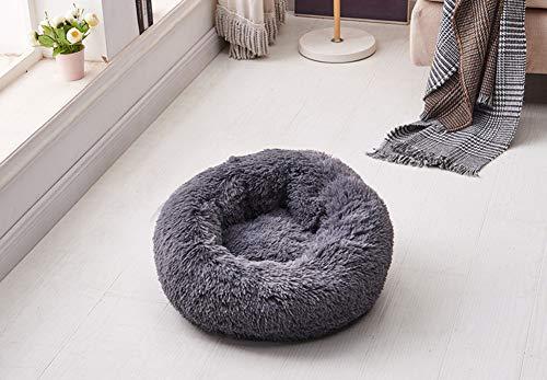 Segle Hundebett, extra weich, waschbar, bequem, wasserdicht, rund, Plüsch, Donut-Katzennest, Größe S: 40 x 40 x 20 cm, Dunkelgrau