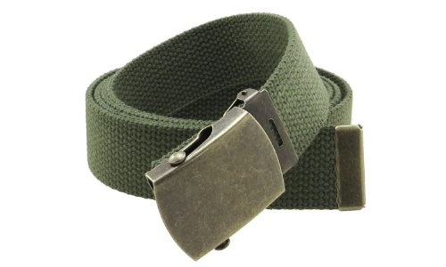 """Canvas Web Belt Military Style with Antique Brass Buckle and Tip 50"""" Long (Olive)"""