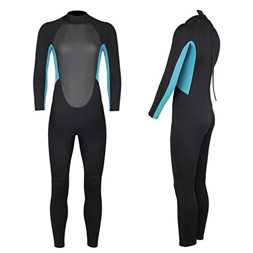 Homruilink Diving Skin Women, 3mm Neoprene Long Sleeve Diving Suits with Back Zipper UV Protection Full Wetsuit for Surfing Kayaking Snorkeling Swimming Diving