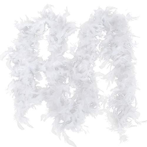Federboa, 2M weiße Feder Boa Kostüm Kostüm Party Tanz Hochzeit Weihnachten Nacht Streifen, Dicke Party Feder Boa Streifen Flauschige Handwerk Kostüm Flauschige Girlande Boa Band Streifen