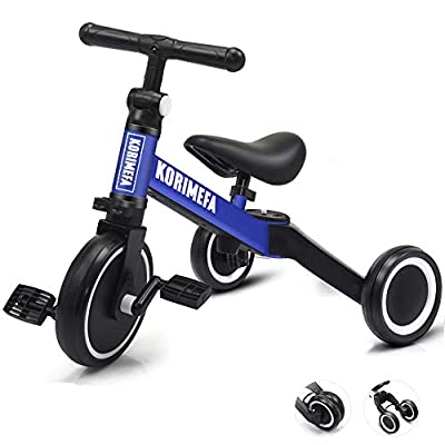 KORIMEFA 3 in 1 Kids Trike for Children 1-3 Years Old Kids Tricycle Boys Girls Baby Balance Bike 2 Wheels for Toddlers Tricycle with Removable Pedals from KORIEMFA